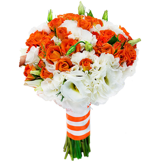 Свадебный букет невесты с кустовыми розами и эустомами №231