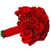 Свадебный букет невесты с красными розами №235