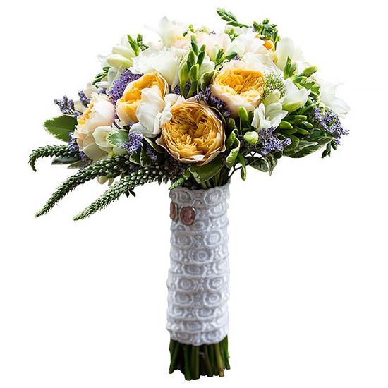 Свадебный букет невесты с пионовидными розами №243