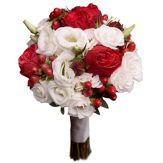 Свадебный букет невесты с красными пионовидными розами №250
