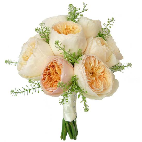 Свадебные букеты из оранжевых пионовидных роз, тюльпаны
