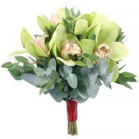 Свадебный букет невесты с зелеными орхидеями №273