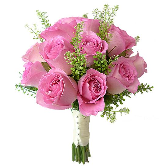 Свадебный букет невесты с розовыми розами №288