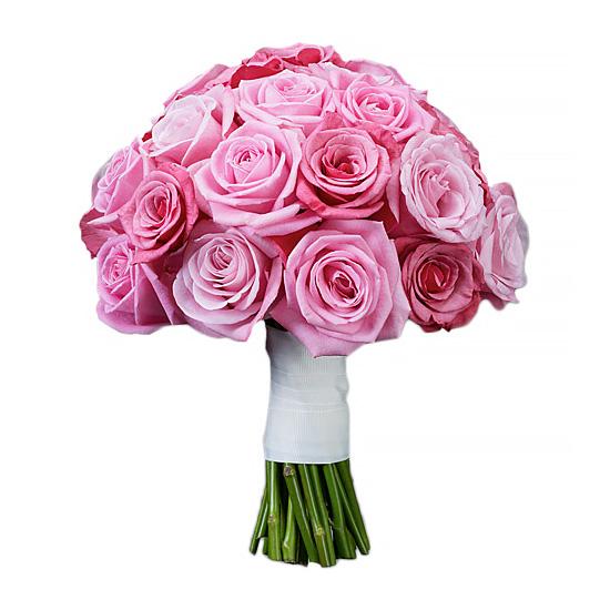 Свадебный букет невесты с розовыми розами №295