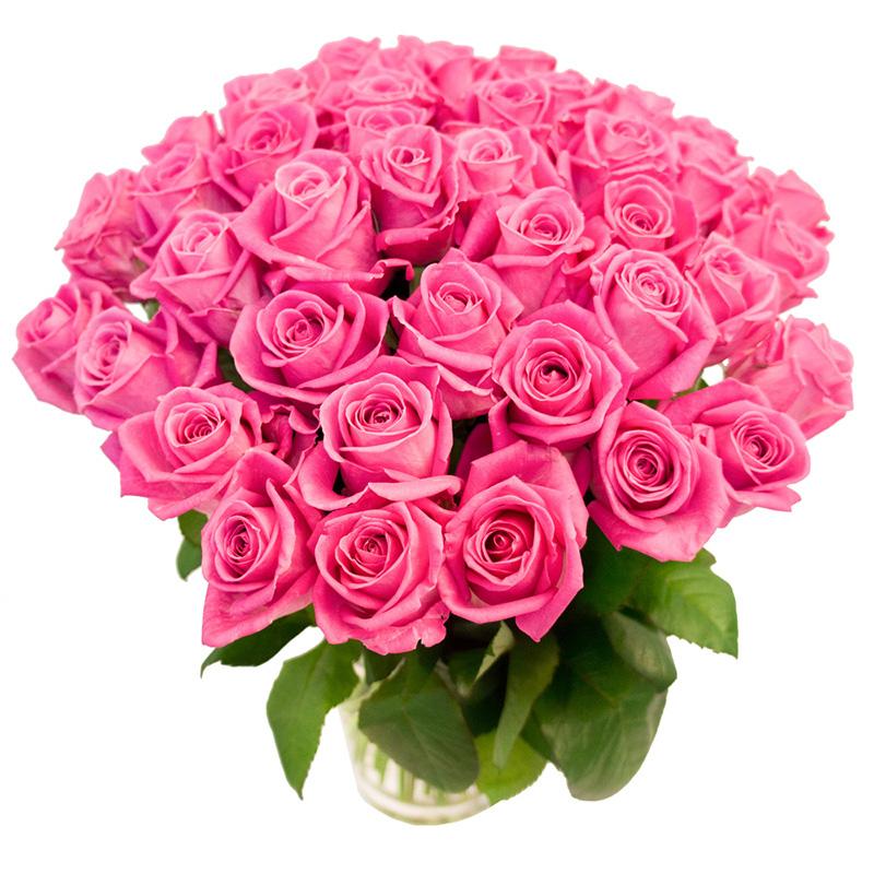 51 розовая роза (50 см)