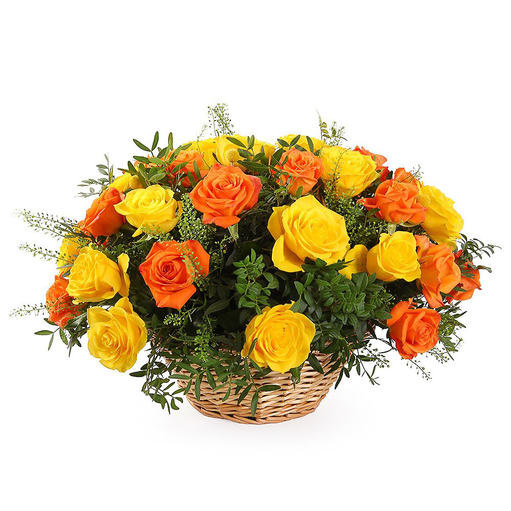 Корзина с розами «Лимонный пунш»