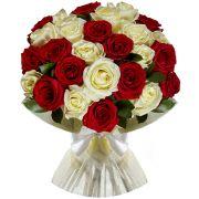 25 красных и белых роз