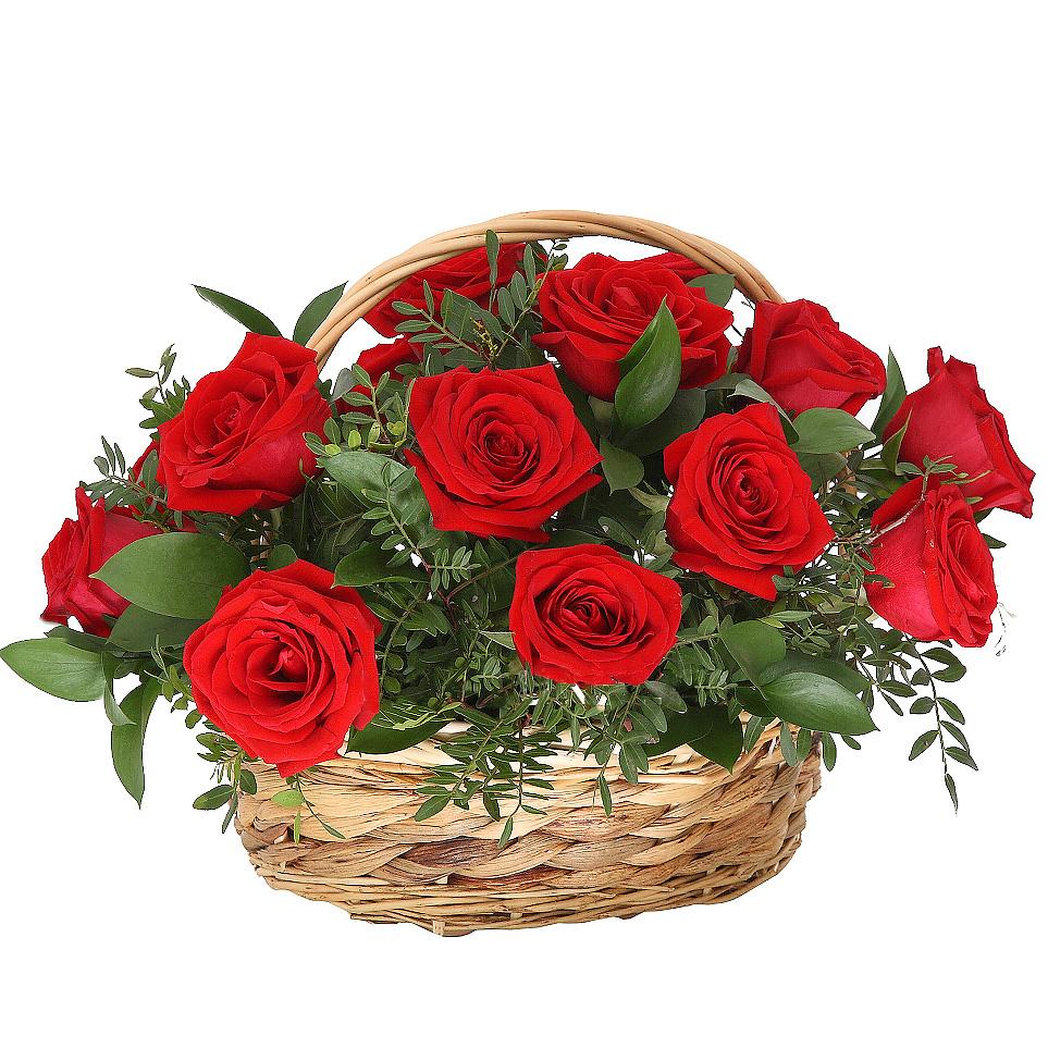 Корзина с розами «Красный Париж»