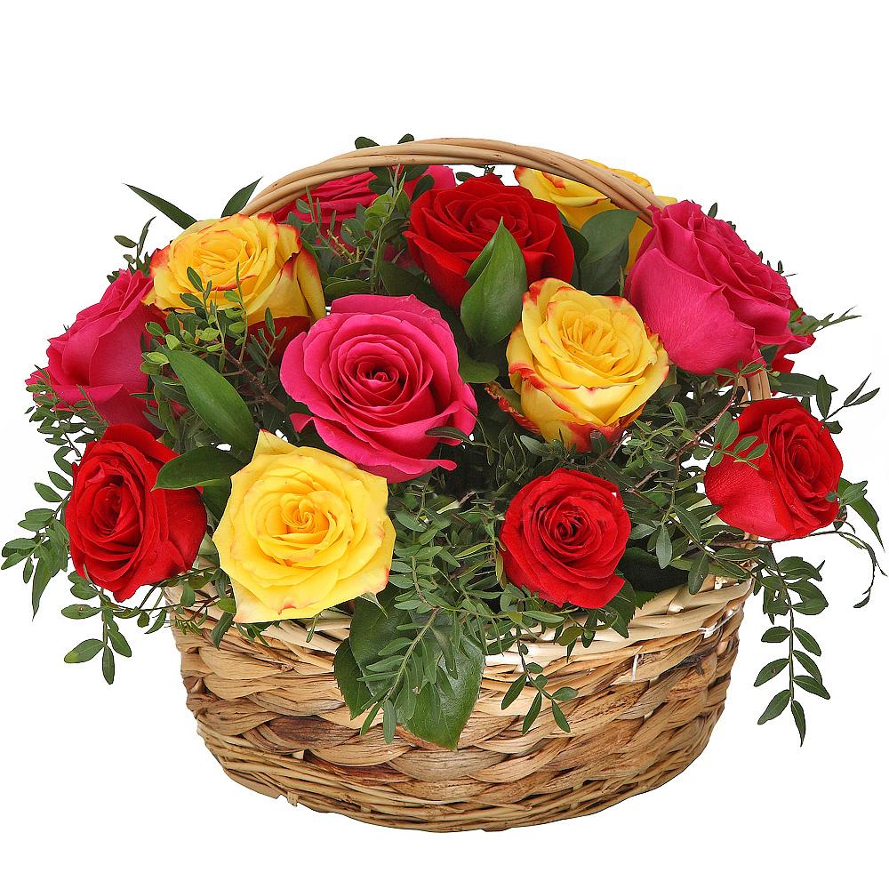 Корзина с розами микс «Притяжение»