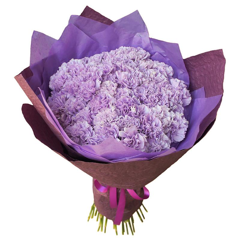 Букет из 51 фиолетовой гвоздики