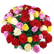 51 роза микс в корзине (АКЦИЯ)