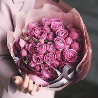 19 роз «Мисти бабблс» с оформлением лентами