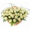Корзина  из 101 белой розы «Вайт Наоми»