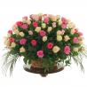 Корзина из 101 розы: белые + розовые + нежно-розовые