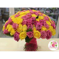 101 роза: желтая + розовая