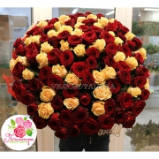 101 роза: кремовая + красная