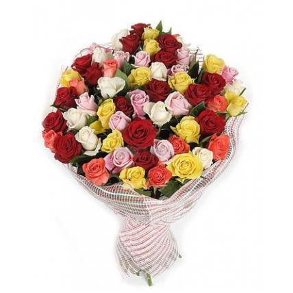 51 роза «Весенний микс»