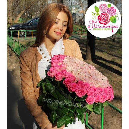 101 роза: нежно-розовые + розовые