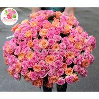 101 роза: розовая + персиковая