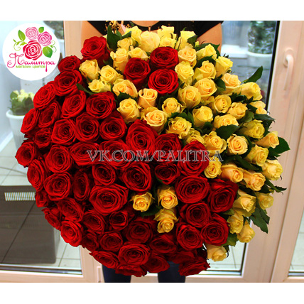 Композиция «Ты и я» из 101 розы