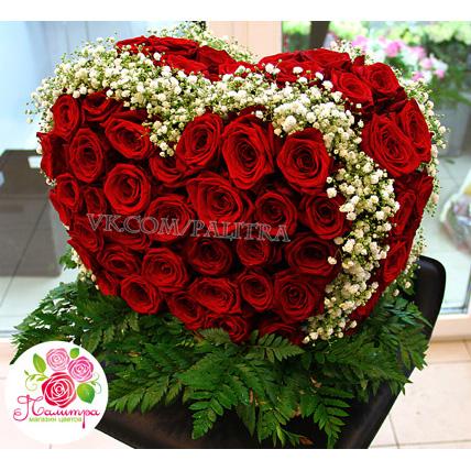 Сердце 3D из  101 розы