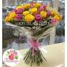 51 роза: розовая + желтая