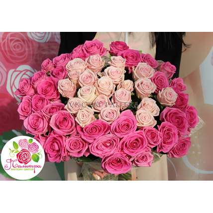 51 роза: нежно-розовая + розовая