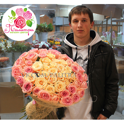 51 роза: кремовая +  нежно-розовая