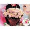 51 роза: нежно-розовая + кремовая