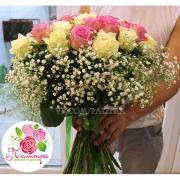 39 роз: розовые + белые