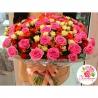 Осенний микс из 101 розы: розовая + кустовые