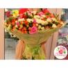 Веселый микс из 101 розы: розовая роза + кустовые