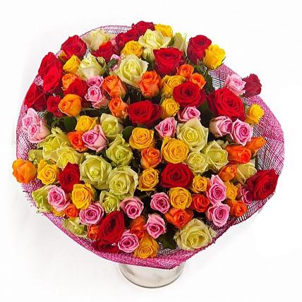 101 роза «Контрастный микс»