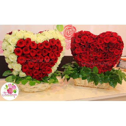 Сердце 3D из 201 розы  в корзине (цена за 1 сердце)