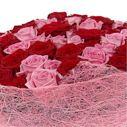 101 роза: розовая и красная
