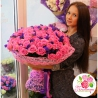 101 розовая роза «Аква» + статица