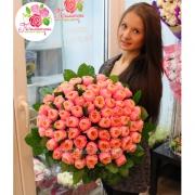 75 пионовидных роз «Вувузела»
