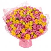 101 роза: розовая + желтая