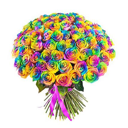 101 радужная роза  «Раинбоу»
