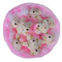 Букет из 9 мягких мишек розовый
