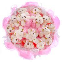 Букет из 15 мягких мишек розовый