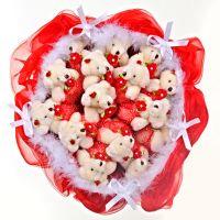 Букет из 15 мишек красный