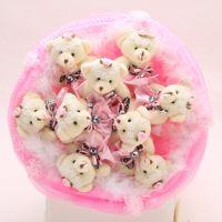 Букет из 9 мишек с юбочками розовый