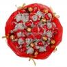 Букет из 15 мишек «Me to you» и 9 конфет «Ферреро» красный
