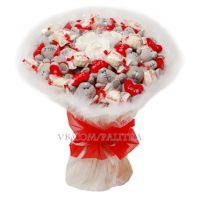 Букет из 15 мишек «Me to you» и 11 конфет «Рафаэлло» белый