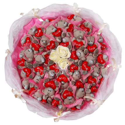 Букет из 33 мишек «Me to you» розовый