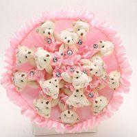 Букет из 15 мишек с юбочками розовый