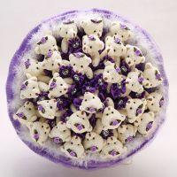Букет из 29 мишек с юбочками фиолетовый