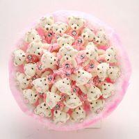 Букет из 29 мишек с юбочками розовый