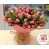 101 тюльпан: розовый + нежно - розовый